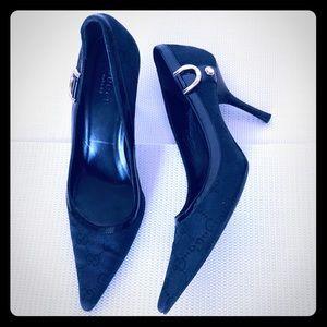 Gucci Black Monogram Nylon Pointed Heels Sz 7 1/2